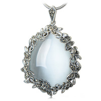 Collage 925 pure silver jewelry vintage thai silver white - eye necklace pendant women's pendant