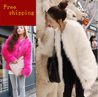 Free Shipping 2013 New Fashion Faux Fur Coat for Women autumn and winter fox fur medium-long overcoat female