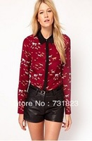 172439 Euro Fashion Style Horse Print Turn Down Collar Long Sleeve Chiffon Blouse Casual Elegant Blouse Free Shipping