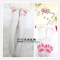 Princess sweet lolita pantyhose HARAJUKU soft amo lolita spank white cat patchwork over-the-knee pretended high stockings