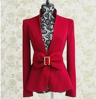 Free Shipping!Bran Fall Wine Red Bow Decoration Slim Long  Sleeve Wild OL Skirt Blazer Coat,
