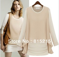Q8188   Free Shipping New  2013 Women Autumn Long Sleeve Chiffon Dress Lady Fake 2pcs Slim Dress