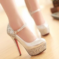 Remotest sexy fashion thin heels single shoes gold platform ultra high heels wedding shoes red women's shoes silver black white