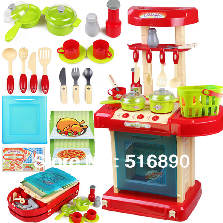 Free Shipping!Children Kitchen Model Plastic Kitchen Toy Simulation Kitchen Family play toy kitchen utensils with sound light(China (Mainland))