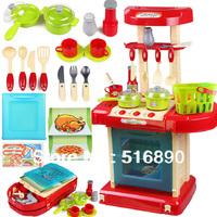 Free Shipping!Children Kitchen Model Plastic Kitchen Toy Simulation Kitchen Family play toy kitchen utensils with sound light