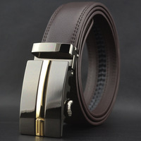 High-Grade Leather Automatic Buckle Men's Coffee Leather Belt Wholesale Christmas Gift Free Shipping