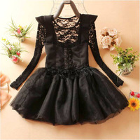 2013 autumn women's lace long-sleeve o-neck skirt vest twinset one-piece dress