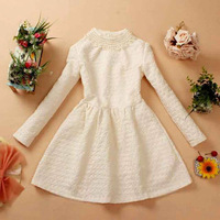 2013 autumn women's sweet fashion slim waist slim beaded o-neck long-sleeve dress princess dress