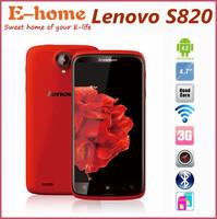"Free Case Original Lenovo S820 Phone Android 4.2 MTK6589 Quad Core1.2 GHz 1GB RAM 4.7"" IPS Screen Dual Sim Bluetooth 3G GPS WIFI"