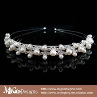 Migodesigns Fashion Hair Jewelry 18K Gold Plated Crystal Pearl Tiara Wedding white pearl hair decor for sweet girls