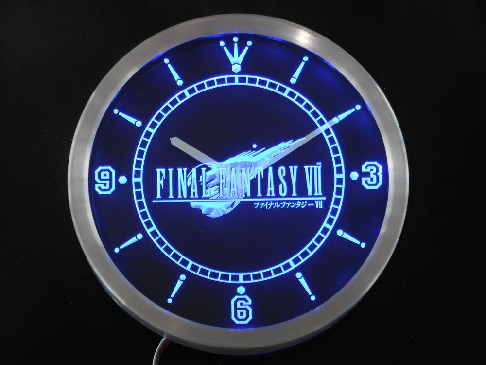 nc0197 Final Fantasy VII FF7 Neon Sign LED Wall Clock Wholesale Dropshipping(China (Mainland))