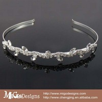 Free Shipping Migodesigns 2013 Fashion Crystal Hair Jewelry 18K Gold Plated Leaf Shape Crystal Headband