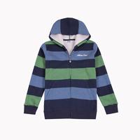 Stripe print medium-large male child zipper hooded sweatshirt 8 - 16