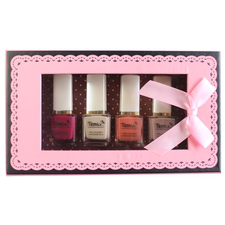 Temix water based nail polish healthy eco-friendly oil flavor 14ml 4 bottle gift box set(China (Mainland))