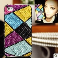 Colored plaid. Rhinestone phone case