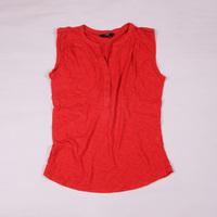 Summer 100% cotton irregular sweep V-neck button women t-shirt