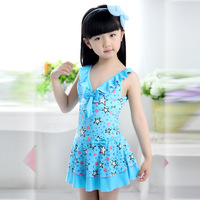 Child swimwear female child one-piece dress young girl child swimwear small 10 - 16