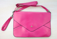 FREE SHIPPING 1PCS Korea Style Watermelon-Red PU Leather Satchel Envelope Handbag #23390