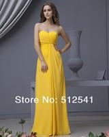 Cheap Yellow Chiffon Bridesmaid Dresses Backless Sheath Sweetheart Ruffle Floor Lenght New Fashion yk-8W22
