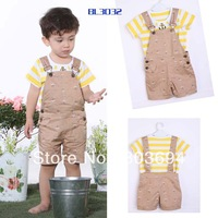 wholesale cool baby boy 2pcs suit, short sleeve shirt+Bib, 3set/lot free shipping L1