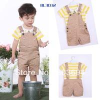 wholesale cool baby boy 2pcs suit, short sleeve shirt+Bib, 3set/lot free shipping L1