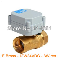 on/off type electric operated ball valve 12V/24VDC,DN25 brass 2 way,BSP/NPT 1''  3 wires for air water control,HVAC,heating