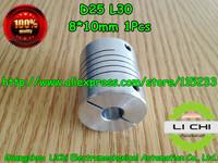 Free shipping 1pcs 8x10mm CNC Motor Jaw Shaft Coupler 8 mm To 10mm Flexible Coupling OD 25x30mm wholesale Dropshipping