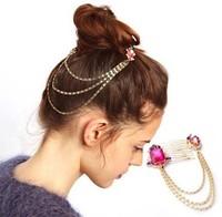 Min Order $18(Can Mix Item)Cute Gold Rainbow Crystal Chain Hair Comb Cuff Pin Headband Hair Accessories