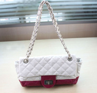 FREE SHIPPING 1PCS Korea Style RoseRed/white PU Leather Chain Shoulder Bag #23394
