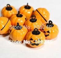 About 18mm Halloween pumpkin skull head shape bell charms.Free shipping orange pumpkin jewelry necklace pendants bell charms.