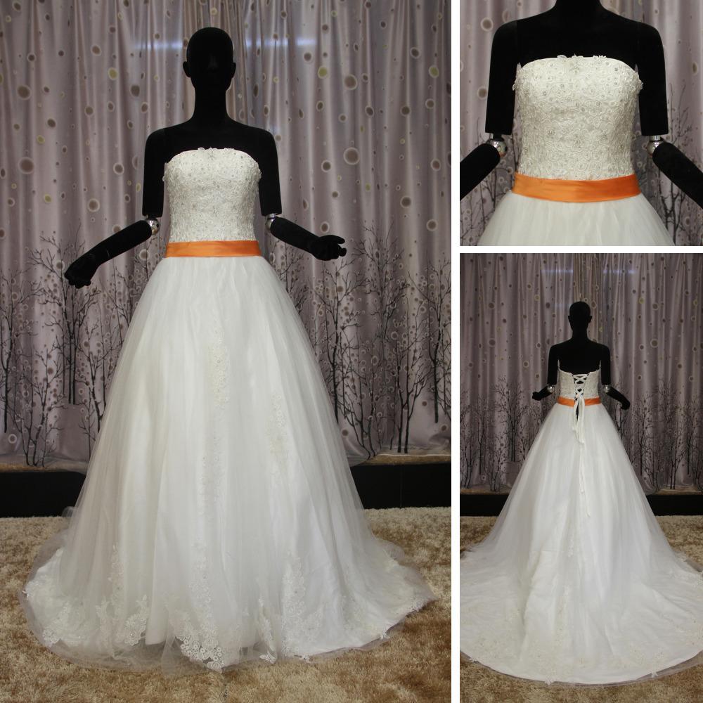 WR050 Alibaba Real Sample Lace Belt Orange And White Hijab Wedding Dress(China (Mainland))