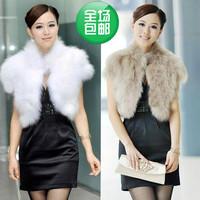 2013 fur coat fox fur autumn and winter wool vest short vest design shrug female cape
