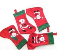 New Arrival Wholesale 50pcs/lot Christmas Socking,Santa Sock,Christmas Decorations Gifts, 4 Designs 35*16cm