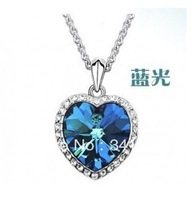 2013 New Fashion Classic Romantic Necklace Earrings With Diamond Shaped Blue Diamond Ladies Elegant Necklace