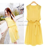 Women Ladies Summer Handmade Bead Shoulder Patchwork Sleeveless Chiffon Pleated Dress with Bow Belt 17028