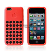 Free Shipping New Arrival 10pcs/lot Unique Hollow Round Hole Design Silicone Case For iPhone 5C