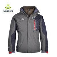 Mangrove male outdoor jacket 3 1 adhesive waterproof jacket water-proof and free breathing 654