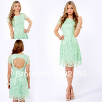 2014 new arrival mint green a line short sleeve lace knee length short cocktail dress JCD009