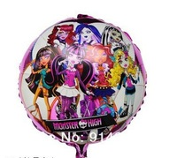 New arrive 10pcs/lot 18inch round monster high girl balloons foil balloons helium cartoon balloons free shipping
