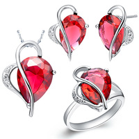 NCS017 Wedding Jewelry Sets White Gold Plated Red Rhinestone Heart Necklace Earrings Ring Crystal Bridesmaid Gift Free Shipping