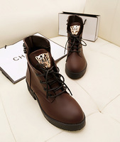 2013 Women's Shoes Star style shoes rivet metal leopard head lacing martin boots flat boots fashion boots