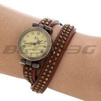 Quartz Movement Wrist Watch Wristwatch Real Leather Coffee Wrap Band Bracelet