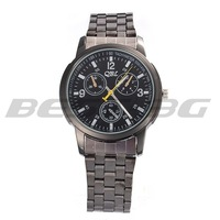 Fashion business men quartz watch Steel Band Analog Quartz Round Dial Bracelet Wristwatch Wrist Watch Mens