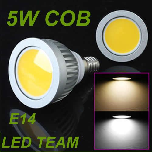 5W COB LED Light Bulbs E27/E14/GU10 550 lumens led Spotlight White/Warm White CE ROHS FCC(China (Mainland))