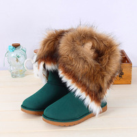 2013 hot sale  winter warm high long snow boots artificial rabbit fur leather tassel women's shoes,free shipping,wholesale,M861