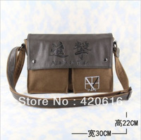 New Attack on Titan Shingeki no Kyojin Legion Corps Leather Canvas Shoulder bag Messenger Bag Free Shipping Wholesale