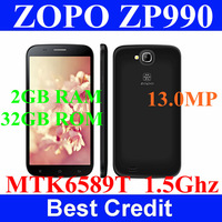 "In stock black original Zopo ZP990 Mtk6589T quad core 1.5GHz 2GB ram 32GB rom android 4.2 13Mp 6"" IPS 1080P phone freeshipping"