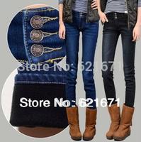 2014 Autumn/Winter Women Vintage Casual Fashion Slim Warm Fleece Thicken Denim Skinny Jeans Pencil Pants S/M/L/XL/XXL/3XL/4XL