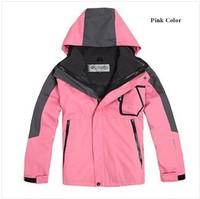 Free Shipping 2013 New brand three layer Children winter ski sport jacket/kids hoodie casual coat waterproof kids outdoor jacket