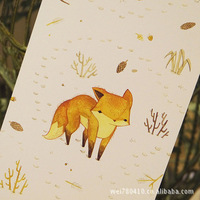 Cardii carbazole tick illustrator postcards Moe into Cute Lovely small fox 15pcs/lot Greeting wishes cards Free shipping